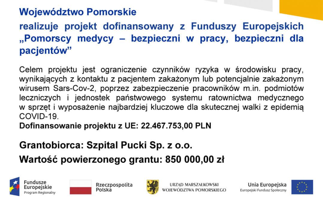 """Szpital Pucki beneficjentem programu """"Pomorscy medycy – bezpieczni wpracy, bezpieczni dla pacjentów"""""""